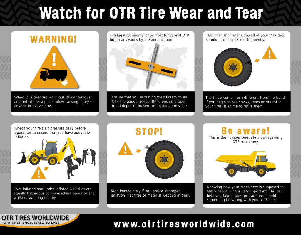 The above infographic demonstrates what to look for when inspecting OTR tires.