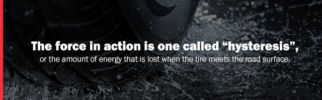 hysteresis is the energy lost when tire meets road