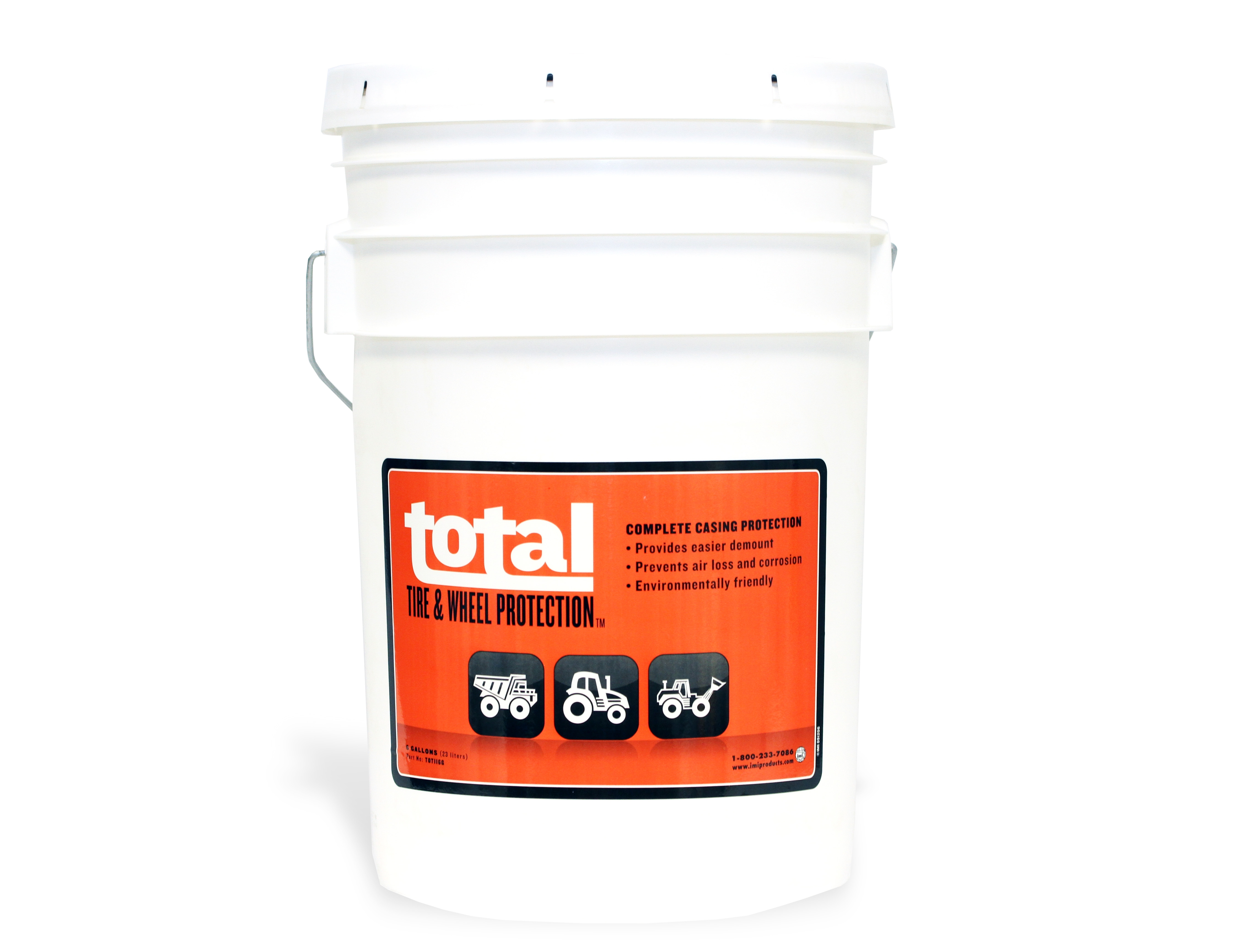 Total Tire and Wheel Conditioner in white five gallon bucket with an orange sticker saying product and company information.