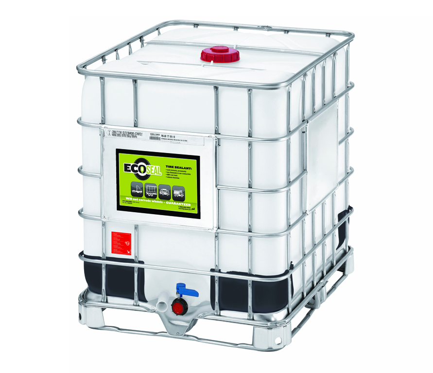 IMI'S white EcoSeal container that is black on the bottom and enclosed in metal caging.
