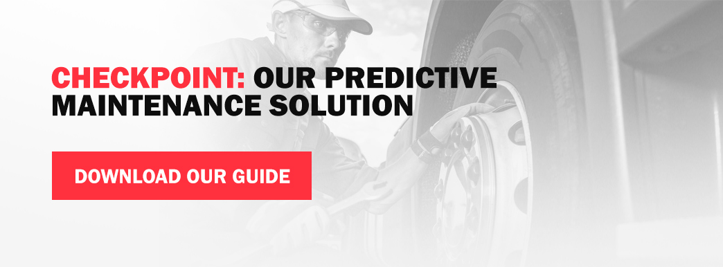 A guy in the background fixing a wheel with the words 'checkpoint: our predictive maintenance solution. download our guide.""