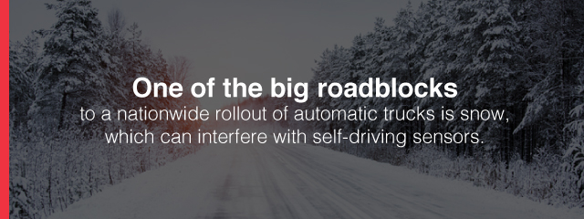 automatic trucks in snow which can interface with self-driving sensors