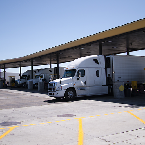 highway fleet at a gas station
