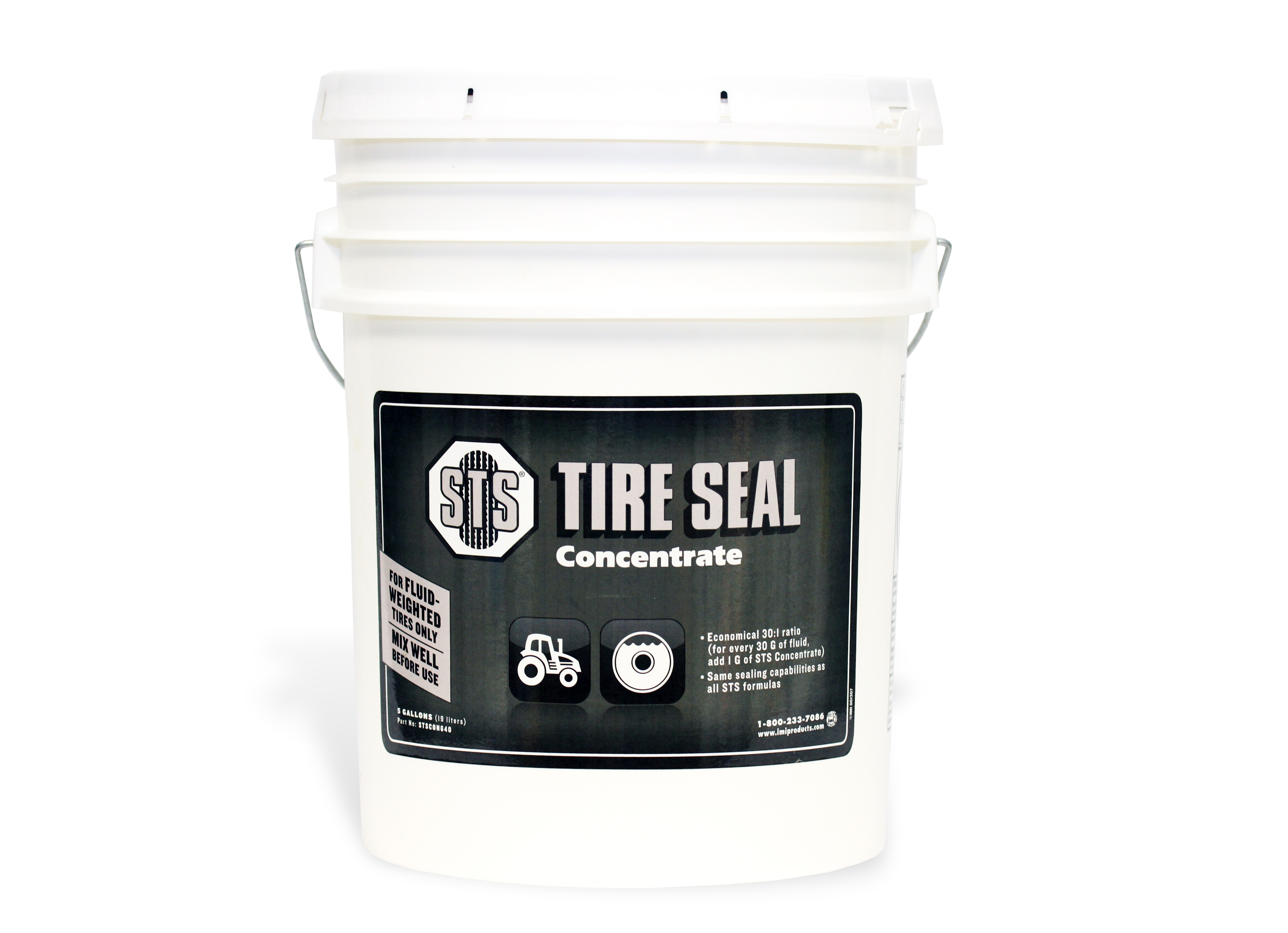 STS Tire Seal in a white five gallon bucket with a black sticker saying product and company information