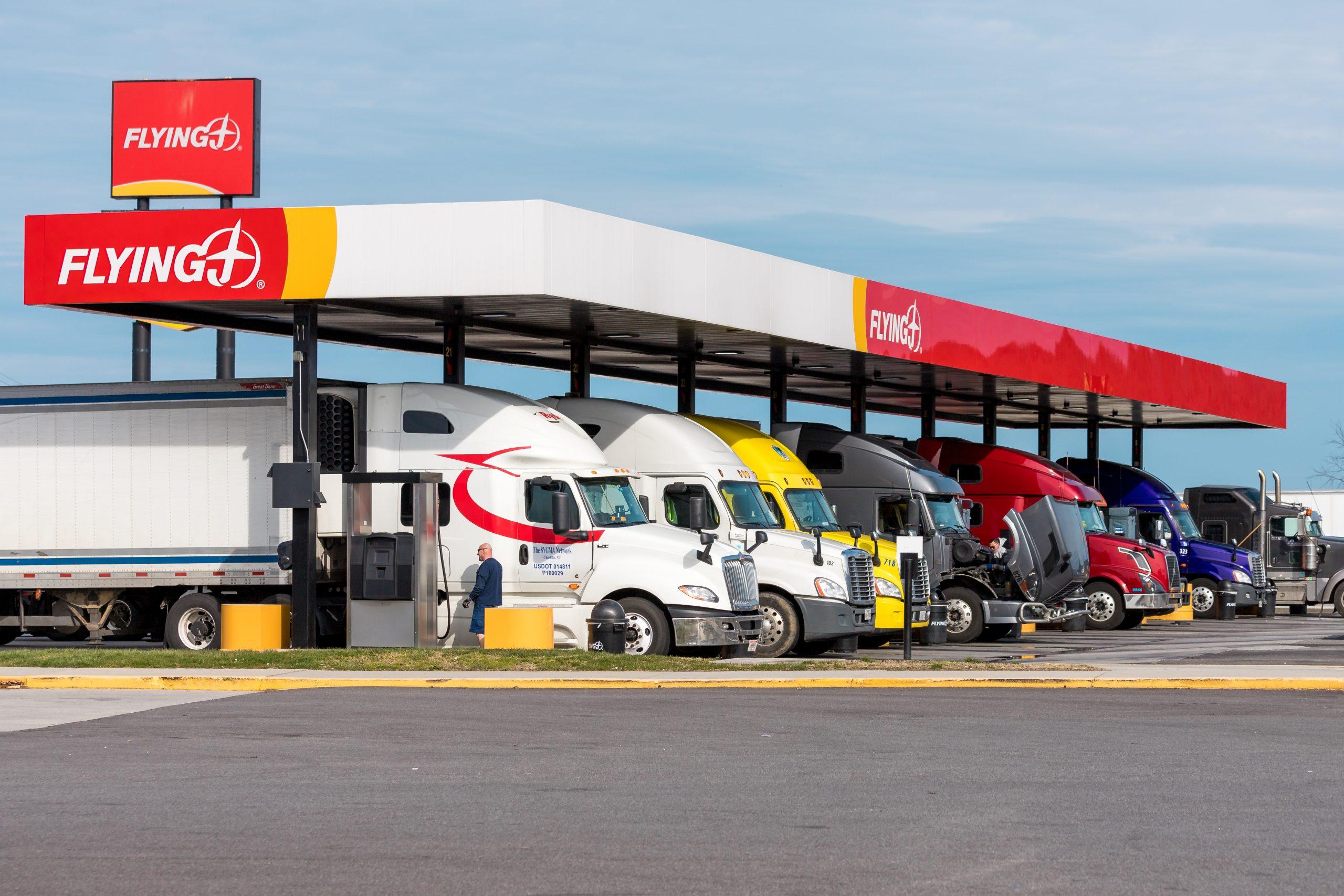 Trucks at Gas Station