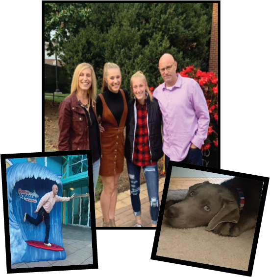 A family photo with 3 girls and 1 guy, a brown dog laying down,and guy surfing at Ripley's Aquarium