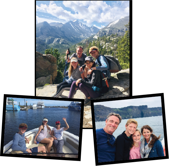 One is a family in front of mountains, 2 girls and a guy on a boat, and family in front of water