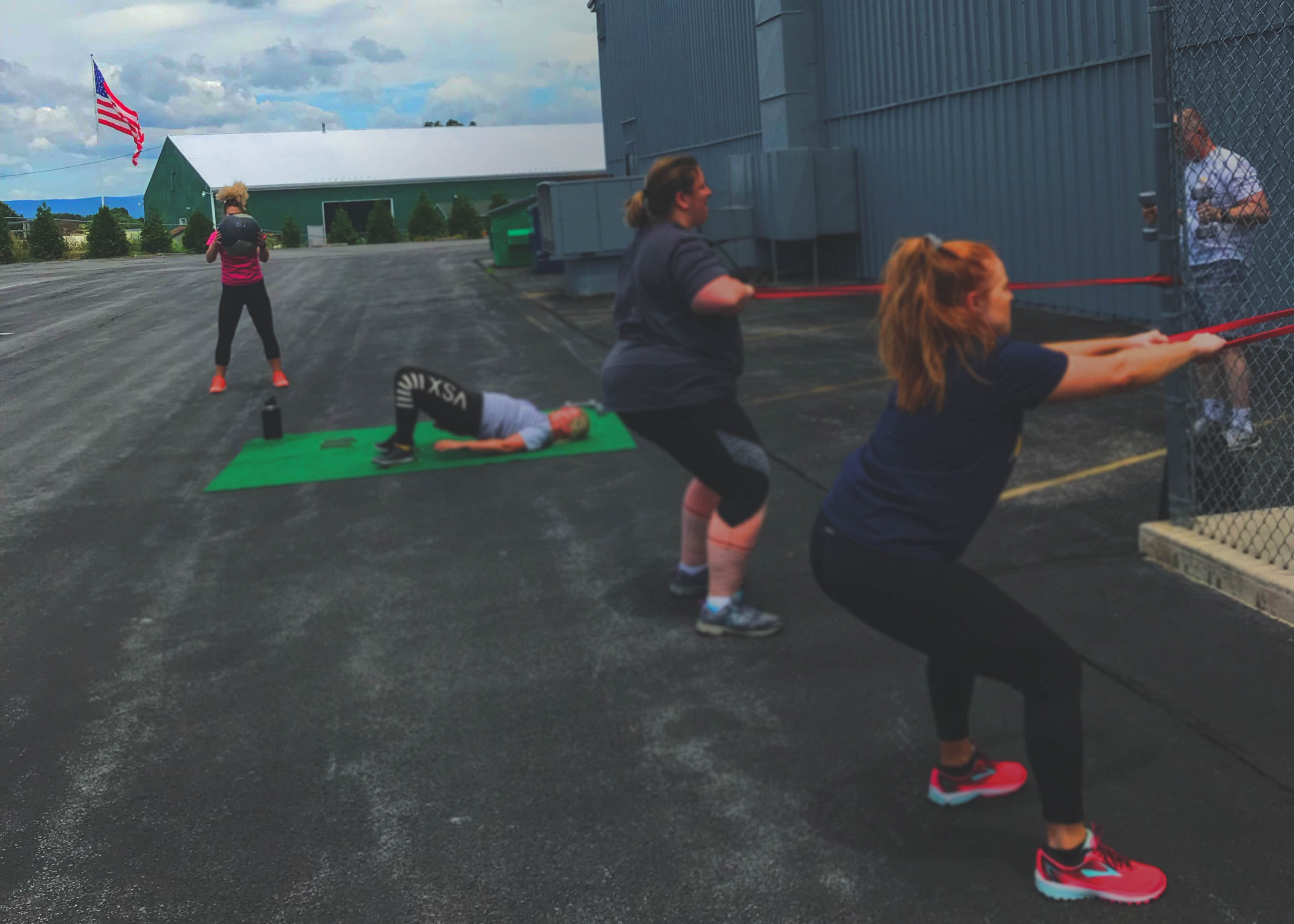 Five people working out